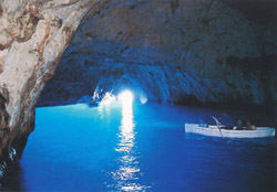<b>Interior of the Blue Grotto in Capri</b>