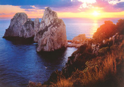 <b>The Faraglioni Rocks of Capri at the sunset </b>