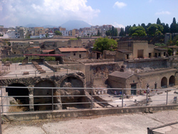 <b>The ruins of Herculaneum seen from <br>a distance</b>