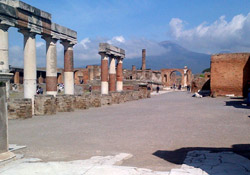 <b>Forum of Pompeii with Mt Vesuvius</b>