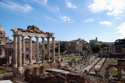 <b>The Roman Forum , the centre of the city's life in ancient times</b>