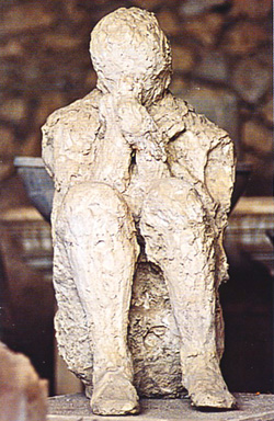 <b>Plaster cast of a human being <br>in Pompeii</b>