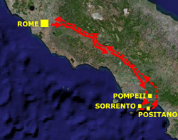 <b>Route to Pompeii, Sorrento and Positano from Rome</b>