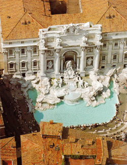 <b>Aerial view of the famous Trevi Fountain</b>