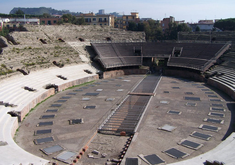 The Flavian amphitheater in Pozzuoli, the third biggest amphitheater of the world